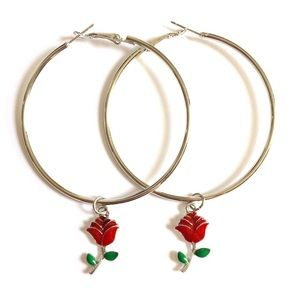 60mm silver rose hoops